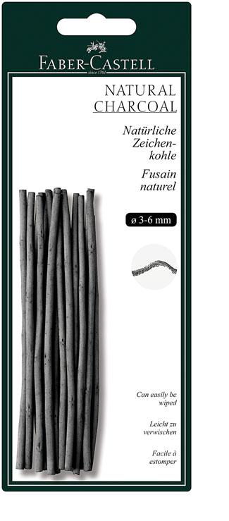 Faber-Castell Натуральный уголь Pitt Monochrome диаметр 3-6 мм 12 шт129198Набор стержней из натурального угля для рисования Faber-Castell Pitt Monochrome состоит из 12 углей, выполненных в форме карандаша.Это один из самых уникальных и высококачественных продуктов компании Faber-Castell (Германия). Натуральный уголь изготовлен из буковых или вербных веточек. Отличается насыщенным и равномерным черным цветом с синеватым оттенком.Уголь - это быстрый, линейный и чувственный рисовальный инструмент. Он может создать как выразительные, так и мягкие линии, гибкость которых непревзойденна. Характер и воздействие угольного штриха определяется способом ведения угля.Углем можно создавать мягкие и проработанные тоновые эффекты различными способами.В комплект входят 12 угольных стержней диаметром от 3 до 6 мм.