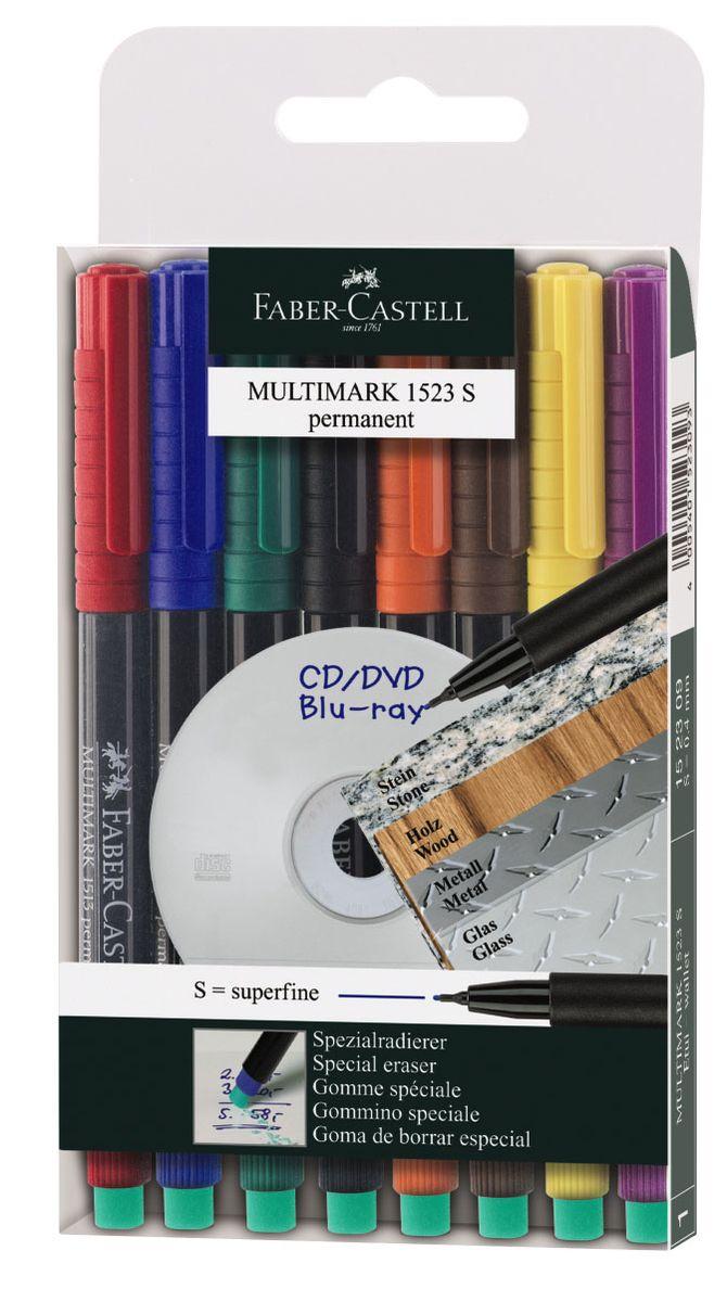 Faber-Castell Капиллярная перманентная ручка Multimark S для письма на CD 8 цветов152309Капиллярная перманентная ручка Multimark предназначена для письма на CD, DVD дисках, пленках для проекторов и других гладких поверхностях. Ручка с обратной стороны содержит специальный ластик для стирания чернил.Чернила быстросохнущие, с яркими цветами, корпус изготовлен из прочного пластика.В наборе 8 цветов: черный, красный, синий, зеленый, коричневый, оранжевый, фиолетовый, желтый.