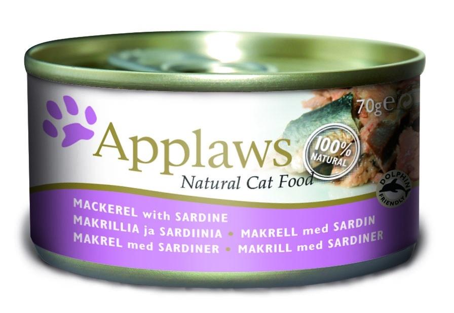 Консервы Applaws, для кошек, со скумбрией и сардинками, 70 г24336Каждая баночка Applaws содержит порцию свежего мяса, приготовленного в собственном бульоне. Для приготовления любого типа консервов используется мясо животных свободного выгула, выращенных на фермах Англии. В состав каждого рецепта входит только три/четыре основных ингредиента и ничего более. Не содержит ГМО, синтетических консервантов или красителей. Не содержит вкусовых добавок.Состав: филе скумбрии 50%, сардинки 25%, рыбный бульон 21%, рис 4%.Анализ: белок 12 %, клетчатка 1 %, жиры 1 %, зола 3 %, влага 83 %.Товар сертифицирован.
