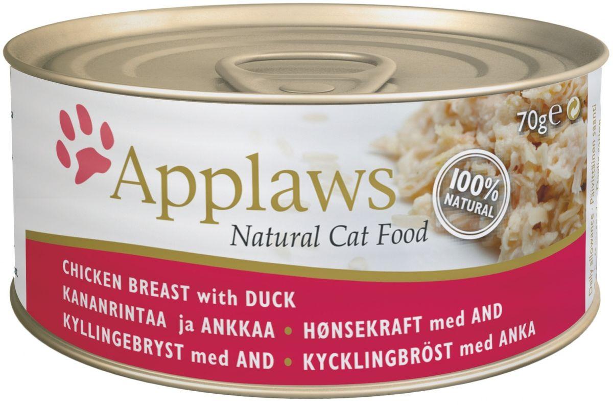 Консервы Applaws, для кошек, с курицей и уткой, 70 г24338Каждая баночка Applaws содержит порцию свежего мяса, приготовленного в собственном бульоне. Для приготовления любого типа консервов используется мясо животных свободного выгула, выращенных на фермах Англии. В состав каждого рецепта входит только три/четыре основных ингредиента и ничего более. Не содержит ГМО, синтетических консервантов или красителей. Не содержит вкусовых добавок.Состав: филе куриной грудки 70%, куриный бульон, филе утки 5%, рис.Анализ: белок 15 %, клетчатка 1 %, жиры 0,1 %, зола 3 %, влага 80 %.Товар сертифицирован.
