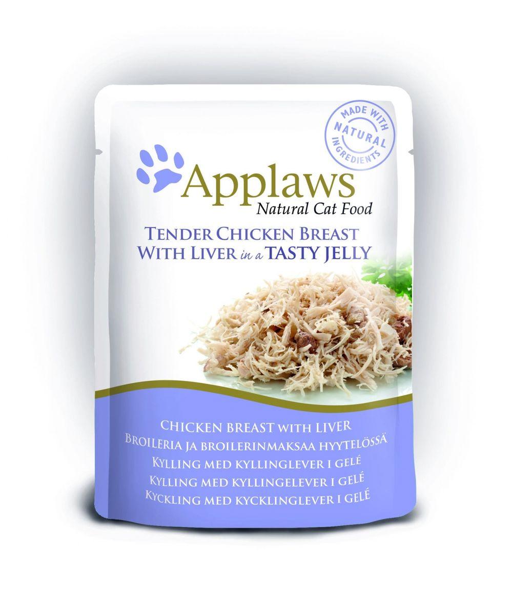 Консервы для кошек Applaws, кусочки курицы с печенью в желе, 70 г24367Нежные кусочки в аппетитном желе для кошек изготовленные из свежих продуктов. Желе приготовлено из бульона при помощи натуральных загустителей. Известно, что желе помогает пищеварению кошек - легко переваривается, дает дополнительную влагу, также помогает при выводе шерсти. Состав: филе куриной грудки 55%, печень 7%, растительный желлирующий компонент (пектин) 1%.Гарантированный анализ: белок 12,5%, клетчатка 1%, жиры 1%, зола 1%, влага 84%. Товар сертифицирован.