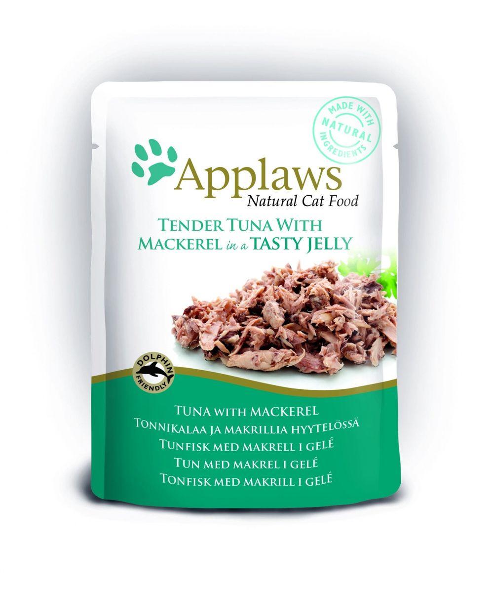 Консервы для кошек Applaws, кусочки тунца со скумбрией в желе, 70 г24371Нежные кусочки в аппетитном желе для кошек изготовленные из свежих продуктов. Желе приготовлено из бульона при помощи натуральных загустителей. Известно, что желе помогает пищеварению кошек - легко переваривается, дает дополнительную влагу, также помогает при выводе шерсти. Состав: филе тунца 55%, филе скумбрии 8,5%, растительный желлирующий компонент (пектин) 1%.Гарантированный анализ: белок 12,5%, клетчатка 1%, жиры 1%, зола 1%, влага 84%. Товар сертифицирован.