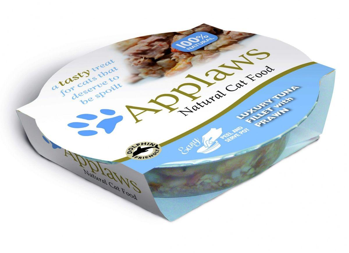 Консервы Applaws, для кошек, с тунцом и креветками, 60 г24382Каждая баночка Applaws содержит нежнейшее филе тунца, приготовленное в собственном бульоне, с добавлением креветок. Уникальный дизайн упаковки прекрасно заменяет миску для вашего любимца. Консервы Applaws приготовлены только из свежих и качественных ингредиентов. Не содержат красителей, усилителей вкуса и запаха, а также продуктов ГМО. Товар сертифицирован.