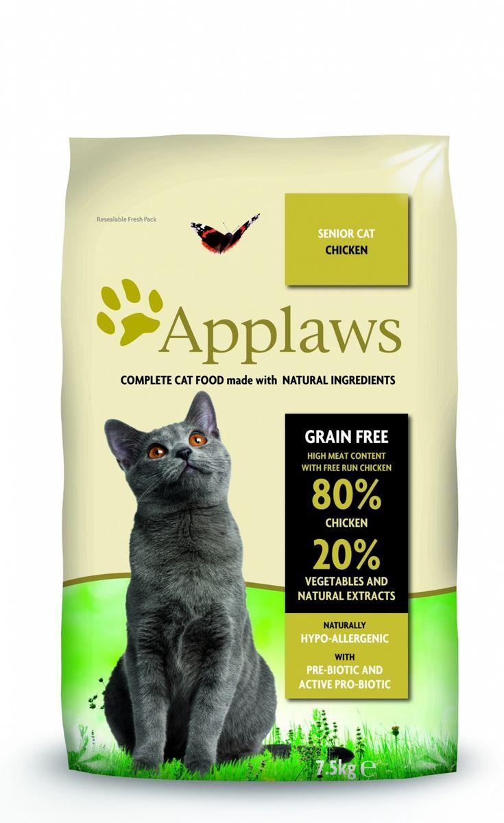 Беззерновой для Пожилых кошек Курица/Овощи: 80/20% (Dry Cat Senior), 7,5 кг24403Беззерновая линейка Холистик кормов для кошек Applawsизготовлена по особым рецептам, разработанными диетологами института Великобритании. Правильная диета очень важна для питомцев, ведь она меняется в зависимости от жизненного цикла. Также полнорационные корма должны включать в себя необходимое количество витаминов и минералов. В рецептах сухих кормов Applaws учтен не только перечень наиболее необходимых минералов и витаминов, но и их строгий баланс. Так как сухой корм изготавливается только из натуральных качественных ингредиентов, крокеты привлекут внимание любого, даже очень привередливого питомца. Состав: Дегидрированное мясо цыпленка (мин. 75%), мелкопорубленное филе цыпленка (мин. 12%), молодой картофель (мин. 6%), свекла, пивные дрожжи, подлива с мяса птицы приготовленной в собственном соку (мин. 1%), Клетчатка, лососевый жир (источник Омега 3), кокосовое масло, витамины и минералы, яичный порошок, хлорид натрия, карбонат кальция, сушеные водоросли, клюква, DL - метионин, хлористый калий, экстракт Юкка Шидегера, экстракт из цитрусовых, розмарин. Пищевые добавки: Витамин А 27,850 МЕ/кг, Витамин D3 1,200 МЕ/кг, Витамин Е 615 МЕ/кг. Микроэлементы:Селен (селенит натрия) 0,13 мг/кг, Йод (безводный иодат кальция) 1,5 мг/кг, Железо (сульфат железа моногидрат) 80 мг, медь (сульфат меди пентагидрад) 48мг/кг, марганец (сульфат марганца моногидрат) 38 мг/кг, Цинк (сульфат цинка моногидрат) 68 мг/кг. Прочие добавки: натуральный консервант – Токоферол. Гарантированный анализ: Белки 37%, Жиры 17%, Клетчатка 3,4%, Зола 10%, Омега 6: 3,1%, Омега 3: 0,7%, Кальций 2,2%, Фосфор 1,5%, Таурин 2000 мг/кг < 12,5 Углеводов. Условия хранения: в прохладномтемном месте