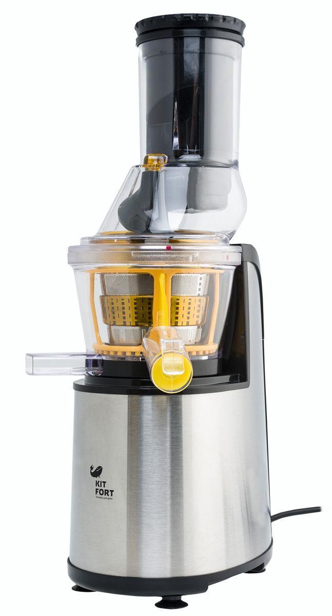Kitfort KT-1102-3, Gray шнековая соковыжималкаKT-1102-3 серыйШнековая соковыжималка KITFORT KT-1101-3 позволяет отжимать максимально возможное количество сока из фруктов, ягод, овощей и зелени с сохранением всех полезных компонентов. В отличие от обычной центробежной высокоскоростной соковыжималки, шнековая соковыжималка KITFORT работает на низких скоростях вращения, около 80 об/мин, и потребляет всего около 150 Вт. При этом, модель KT-1102-3 отжимает сок так же быстро, а низкая скорость вращения обеспечивает значительно более низкую температуру в процессе отжима, что способствует сохранению питательной ценности продуктов.
