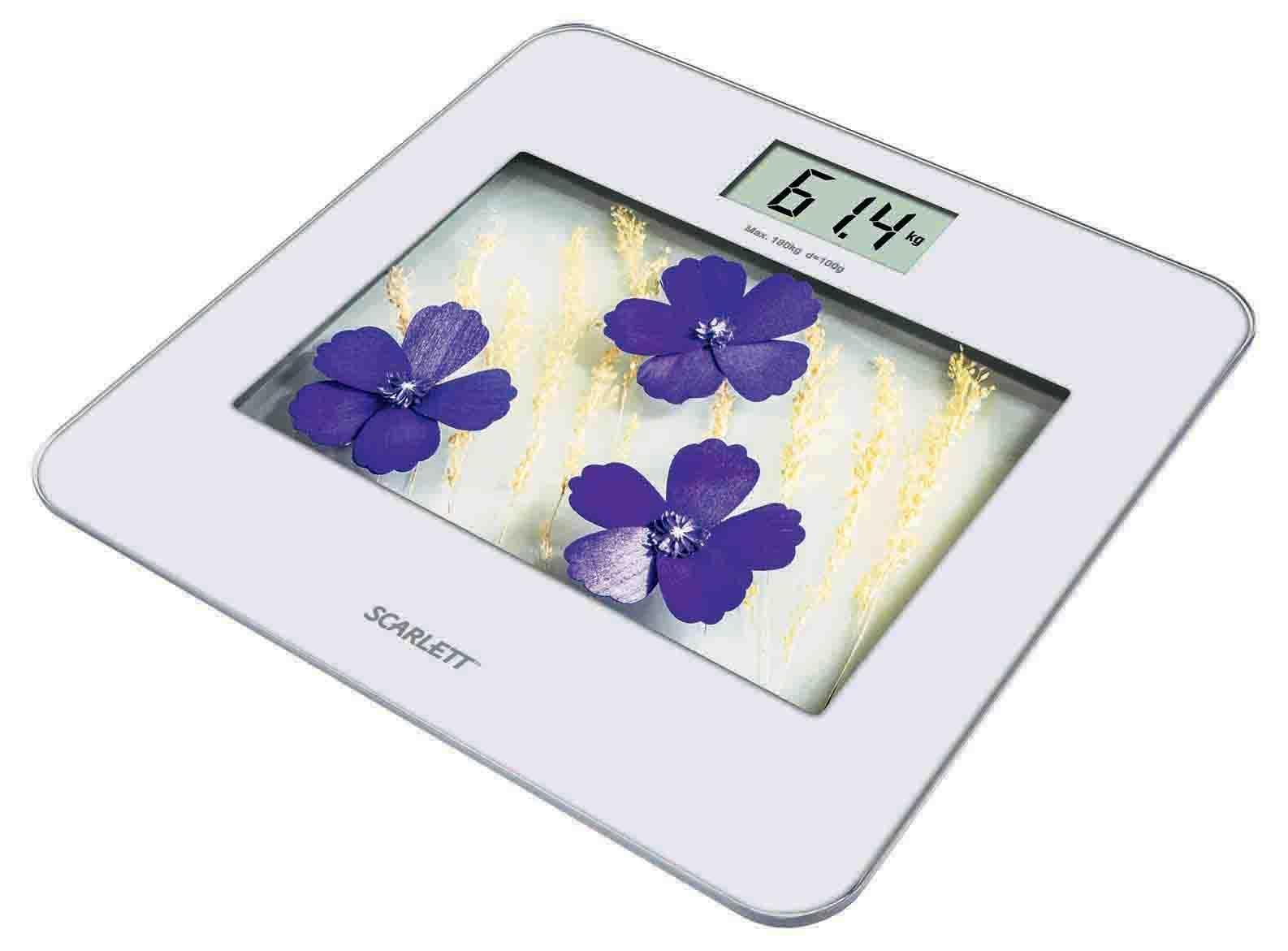 Scarlett SC-BS33E002, Violet Flowers весы напольные электронные