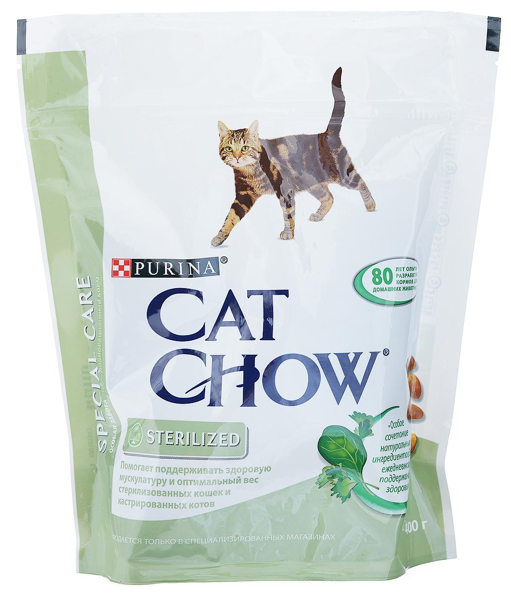 Корм сухой Cat Chow Special Care для кастрированных котов и стерилизованных кошек, 400 г12161312_59897Корм сухой Cat Chow Special Care - полнорационный корм для кастрированных котов и стерилизованных кошек. Сама природа вдохновляет компанию PURINA на разработку кормов, которые максимально отвечают потребностям ваших питомцев, с учетом их природных инстинктов. Имея более чем 80-ти летний опыт в области питания животных, PURINA создала новый корм Cat Chow - полностью сбалансированный корм, который не только доставит удовольствие вашей кошке, но и будет полезным для ее здоровья. Особенности корма Cat Chow Special Care:Высокое содержание мяса, с источниками высококачественного белка в каждой порции для поддержания оптимальной массы тела. Особое сочетание натуральных ингредиентов: тщательно отобранные травы и овощи (петрушка, шпинат, морковь, горох). Отборные ингредиенты придают особый аромат. Высокое содержание витамина Е для поддержания естественной защиты организма питомца. Содержит мякоть свеклы и цикорий для поддержания здорового пищеварения и уменьшения запаха от туалетного лотка. Формула со специально подобранными уровнями белка и жира для поддержания здоровой мускулатуры и оптимального веса. Идеальная физическая форма способствует поддержанию уровня активности стерилизованных кошек и кастрированных котов. Состав: злаки, мясо и субпродукты (мясо 14%), экстракт растительного белка, продукты переработки овощей (сухая мякоть свеклы 2,7%, петрушка 0,4%), масла и жиры, овощи (сухой корень цикория 2%, морковь 1,3%, шпинат 1,3%, зеленый горох 1,3%), минеральные вещества, дрожжи. Добавленные вещества (на 1 кг): витамин А 14900 МЕ; витамин D3 1200 МЕ; витамин Е 100 МЕ, железо 55 мг; йод 1,3 мг; медь 10 мг; марганец 6 мг; цинк 75 мг; селен 0,06 мг. С антиокислителями. Гарантируемые показатели: белок 38%, жир 10%, сырая зола 8,5%, сырая клетчатка 3%.Товар сертифицирован.