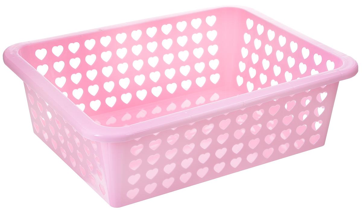 Корзина Альтернатива Вдохновение, цвет: розовый, 39,5 х 30 х 12 смМ611Корзина Альтернатива Вдохновение выполнена из пластика и оформлена перфорацией в виде сердечек. Изделие имеет сплошное дно и жесткую кромку. Корзина предназначена для хранения мелочей в ванной, на кухне, на даче или в гараже. Позволяет хранить мелкие вещи, исключая возможность их потери.