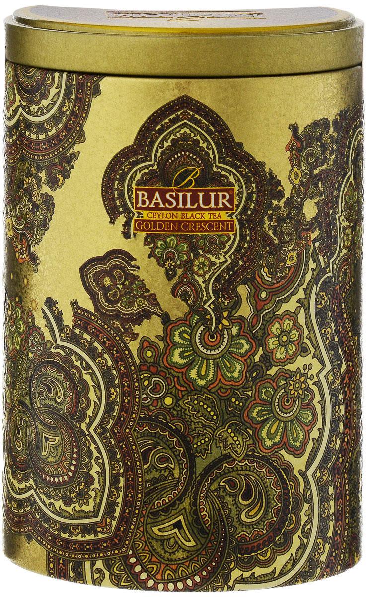 Basilur Golden Crescent черный листовой чай, 100 г (жестяная банка) basilur folk rainbow черный листовой чай 100 г жестяная банка