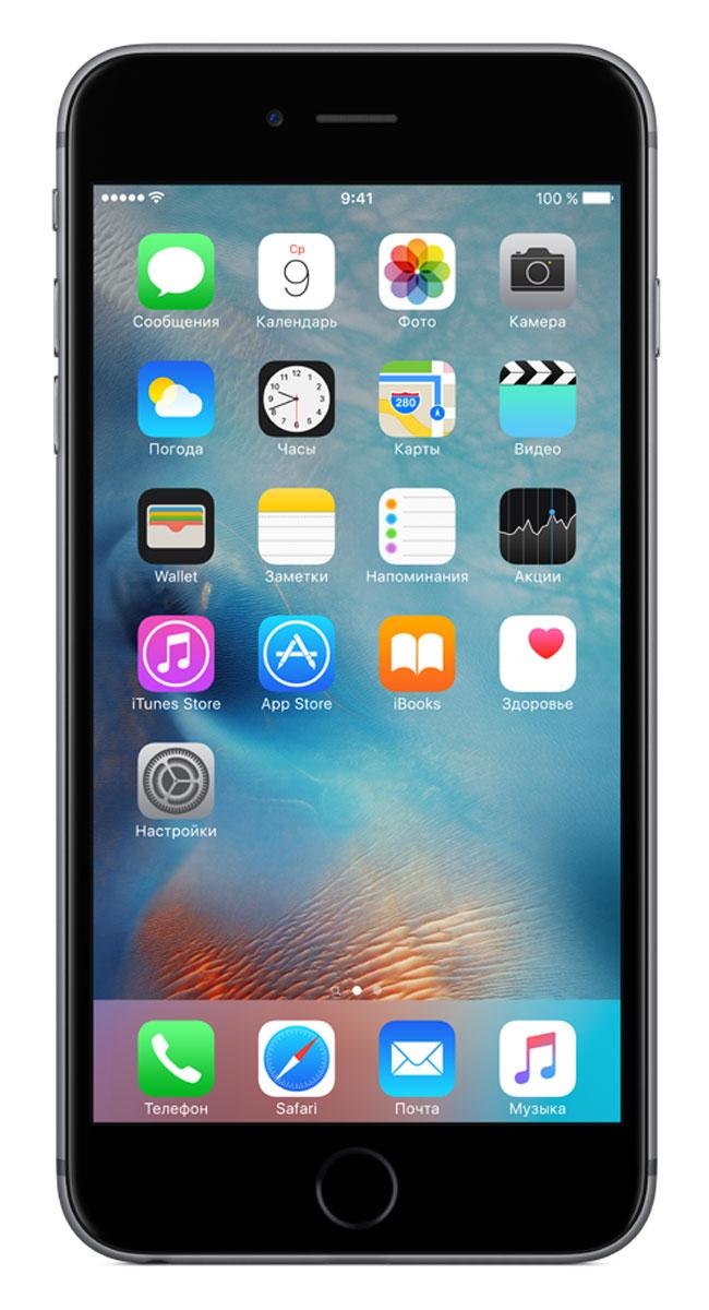 Apple iPhone 6s Plus 128GB, GreyMKUD2RU/AApple iPhone 6s Plus - смартфон, едва начав пользоваться которым, вы сразу почувствуете, насколько все изменилось к лучшему. Технология 3D Touch открывает потрясающие новые возможности - достаточно одного нажатия. А функция Live Photos позволяет буквально оживить ваши воспоминания. И это только начало. Присмотритесь к iPhone 6s Plus внимательнее, и вы увидите инновации на всех уровнях. Новое поколение Multi-TouchС появлением iPhone мир узнал о технологии Multi-Touch, которая навсегда изменила способ взаимодействия с устройствами. Технология 3D Touch открывает совершенно новые возможности. Она позволяет различать силу нажатия на дисплей, что делает многие функции быстрее и удобнее. Кроме того, телефон реагирует на каждый жест лёгким тактильным откликом благодаря использованию нового привода Taptic Engine. 12-мегапиксельные фотографии. Видео 4К. Live Photos12-мегапиксельная камера iSight делает чёткие и детальные снимки, а также позволяет снимать потрясающие видео 4K с разрешением почти в четыре раза больше, чем в HD-видео 1080p. А 5-мегапиксельная HD-камера FaceTime позволяет делать отличные селфи. Кроме того, теперь у вас есть возможность снимать Live Photos, на которых буквально оживают самые дорогие воспоминания. Эта функция записывает несколько мгновений до и после съёмки фотографии, что позволяет посмотреть её в движении, сделав одно нажатие.A9. Самый передовой процессор для смартфонаiPhone 6s Plus оснащён специально разработанным процессором A9 с 64-битной архитектурой. Теперь его производительность достигает уровня, который раньше демонстрировали только настольные компьютеры. Скорость процессора iPhone 6s до 70% выше, чем у моделей предыдущего поколения, а графический процессор работает на 90% быстрее, обеспечивая мгновенный отклик в ресурсоёмких приложениях и играх.Выдающийся дизайнИнновации не всегда очевидны, но присмотревшись к iPhone 6s Plus внимательнее, вы увидите фундаментальные перемены. Корпус изготовлен из но
