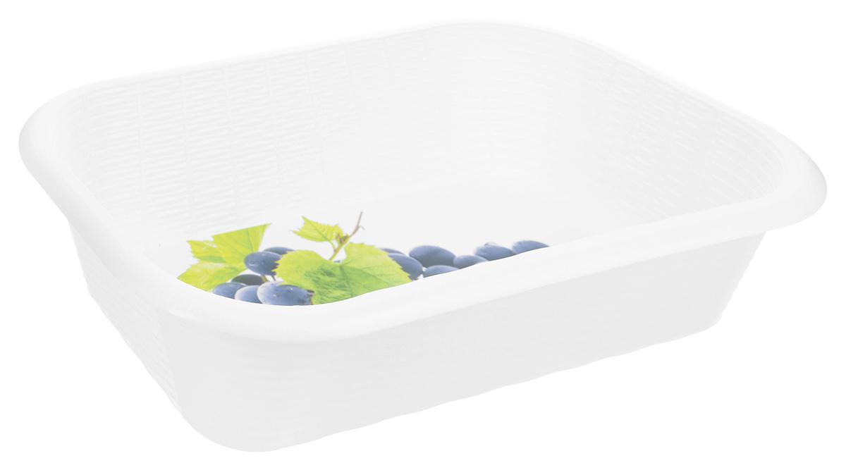 """Универсальная корзина """"Phibo"""" изготовлена из высококачественного пластика и предназначена для хранения продуктов, овощей и многого другого. Дно изделия декорировано ярким рисунком. Элегантный, выдержанный дизайн позволяет органично вписаться в ваш интерьер и стать его элементом.Размер корзины (по верхнему краю): 34,2 х 22 см.Высота корзины: 8,7 см."""