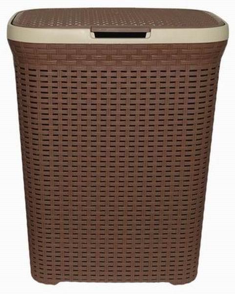 Корзина для белья Violet, с крышкой, цвет: какао, 60 л1860/17Вместительная корзина Violet изготовлена из прочного цветного пластика. Она отлично подойдет для хранения белья перед стиркой.Специальные отверстия на стенках создают идеальные условия для проветривания. Изделие оснащено крышкой и двумя эргономичными ручками для переноски. Такая корзина для белья прекрасно впишется в интерьер ванной комнаты.