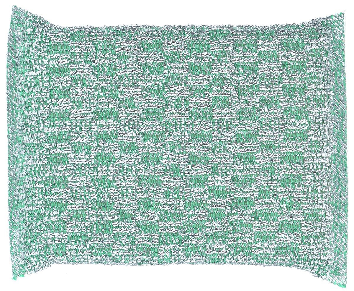 """Губка для мытья посуды """"Home Queen"""", с металлизированной нитью, цвет: зеленый"""