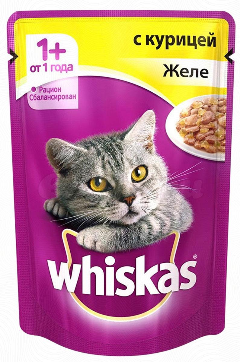 Консервы для кошек от 1 года Whiskas, желе с курицей, 85 г40228