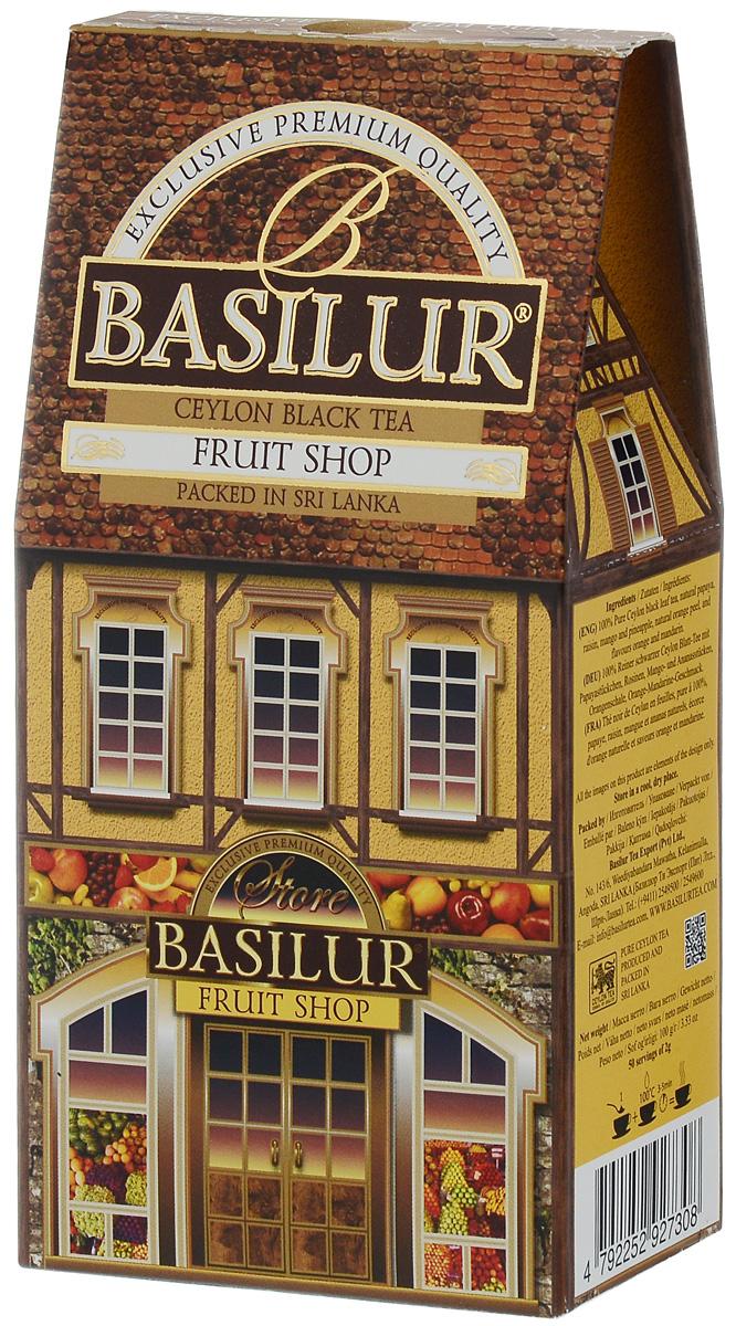 Basilur Fruit Shop черный листовой чай, 100 г71084-00Basilur Fruit Shop - черный байховый листовой чай с папайей, изюмом, манго и ананасом, а также цедрой апельсина и ароматами апельсина и мандарина. Этот напиток будет дарить вам фруктовое летнее настроение каждый день.