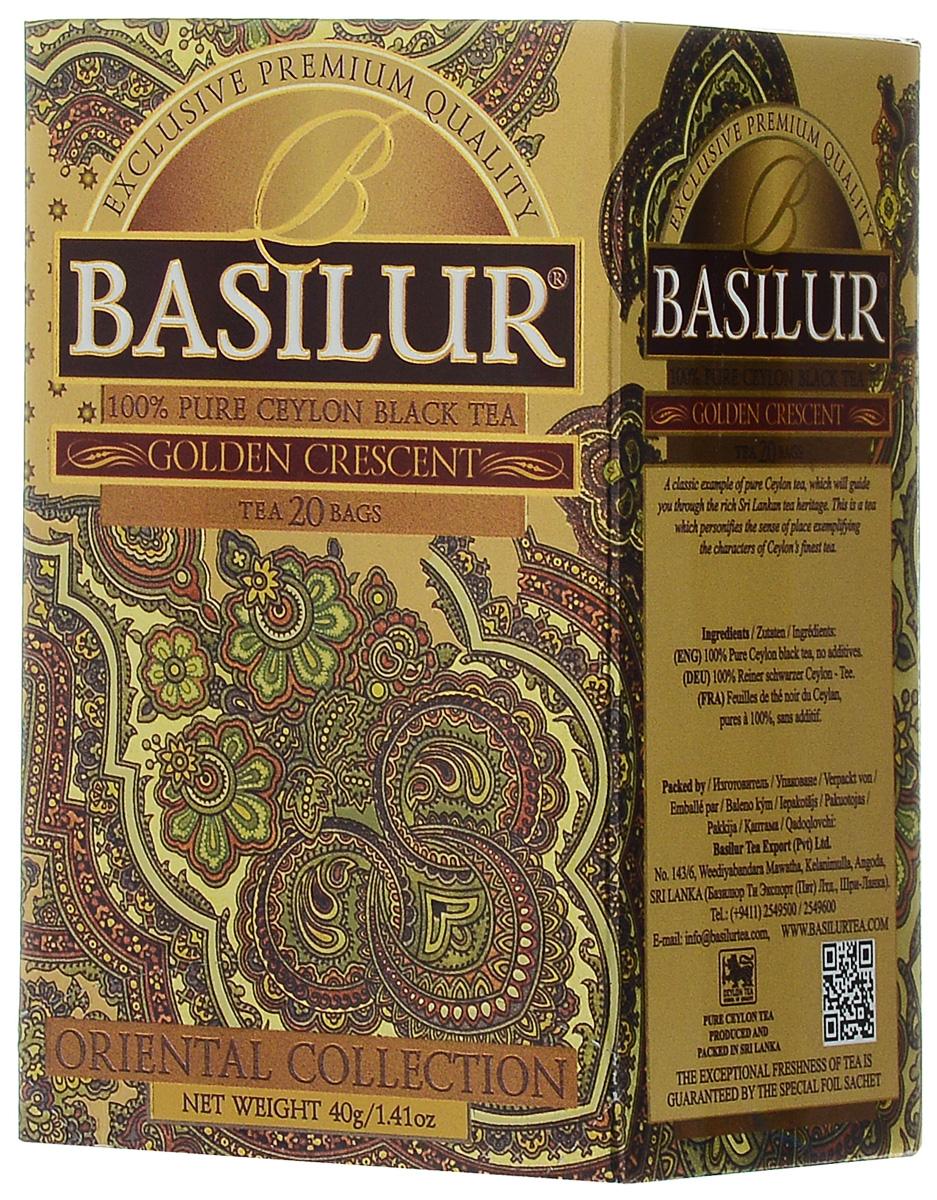 Basilur Golden Crescent черный чай в пакетиках, 20 шт майский корона российской империи черный чай в пирамидках 20 шт