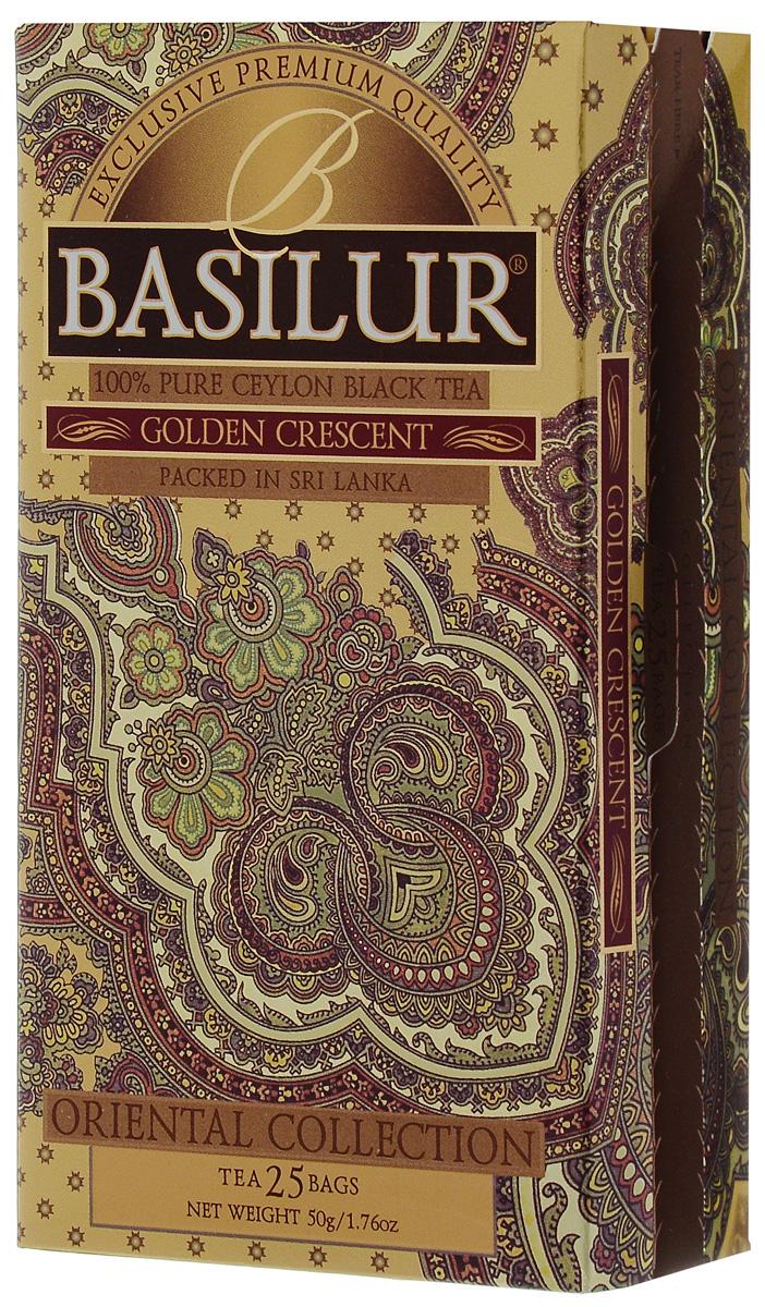 где купить Basilur Golden Crescent черный чай в пакетиках, 25 шт по лучшей цене