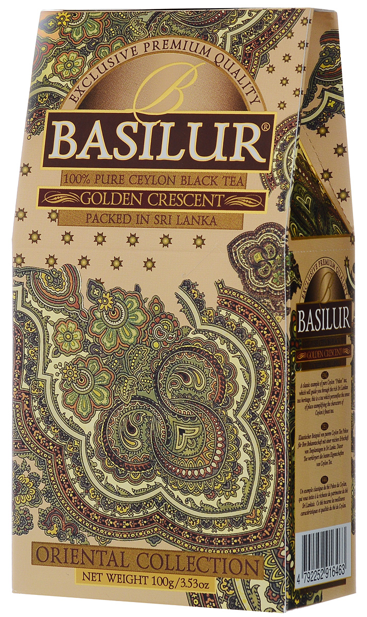 Basilur Golden Crescent черный листовой чай, 100 г greenfield barberry garden черный листовой чай 100 г
