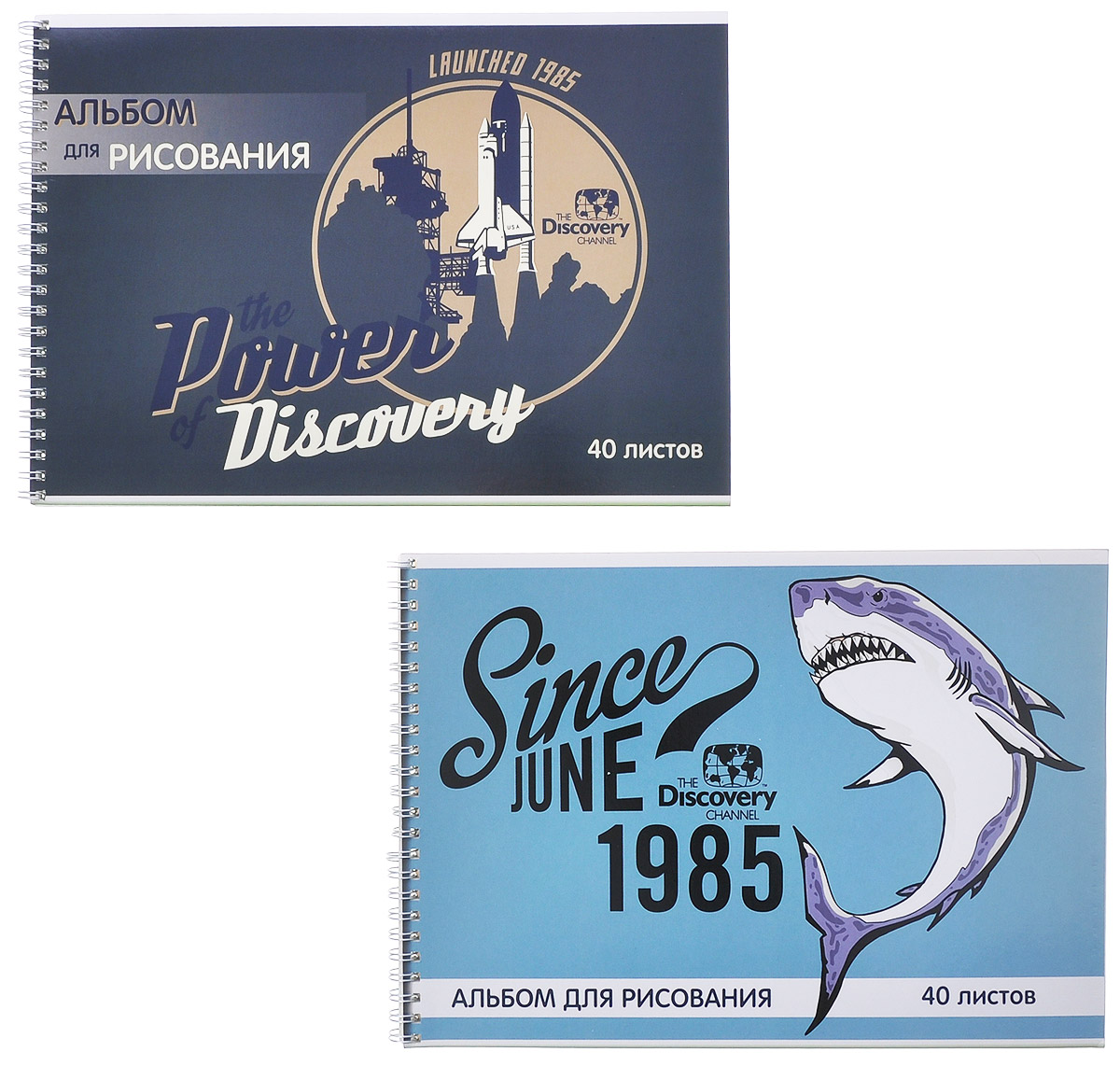 Action! Набор альбомов для рисования Discovery: Акула, ракета, 40 листов, 2 штDV-AA-40S_акула, ракетаАльбом для рисования Action! Discovery: Акула, ракета порадует маленького художника и вдохновит его на творчество. Альбомы изготовлены из белой офсетной бумаги с яркими обложками из высококачественного целлюлозного мелованного картона. Высокое качество бумаги позволяет рисовать в альбоме карандашами, фломастерами, акварельными и гуашевыми красками. В наборе два альбома.Крепление: спираль.Создание собственных картинок приносит детям настоящее удовольствие. И увлечение изобразительным творчеством носит не только развлекательный характер: оно развивает цветовое восприятие, зрительную память и воображение. Во время рисования совершенствуется ассоциативное, аналитическое и творческое мышление. Занимаясь изобразительным творчеством, малыш тренирует мелкую моторику рук, становится более усидчивым и спокойным и, конечно, приобщается к общечеловеческой культуре.