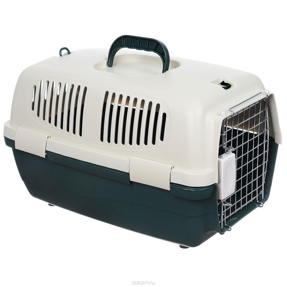 Переноска для животных  Triol  с замком, цвет: зеленый, 48 см х 29 см х 28 см - Переноски, товары для транспортировки