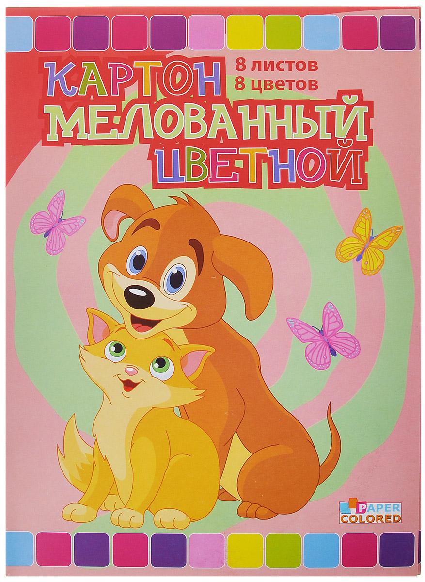 Бриз Набор цветного картона Кошка с собачкой, двусторонний, мелованный, 8 цветов1160-303Набор цветного мелованного картона Кошка с собачкой идеально подойдет для творческих занятий в детском саду, школе и дома. Набор состоит из двусторонних листов картона восьми цветов: черный, коричневый, фиолетовый, синий, зеленый, желтый, оранжевый, малиновый. Картон упакован в яркую папку, оформленную рисунком с изображением попугайчика.Большой выбор ярких, насыщенных цветов расширит возможности для создания аппликаций, объемных поделок и открыток.