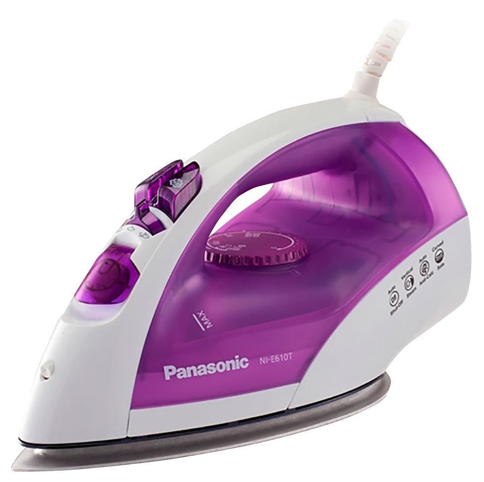 Panasonic NI-E610TVTW утюгNI-E610TVTWPanasonic NI-E610TVTW Утюг 2380Вт,сферич.под.Round-Ride,п/у 84г/мин,п/п до 25 г/мин,в/п,защита от накипи CalcCut,автооткл.