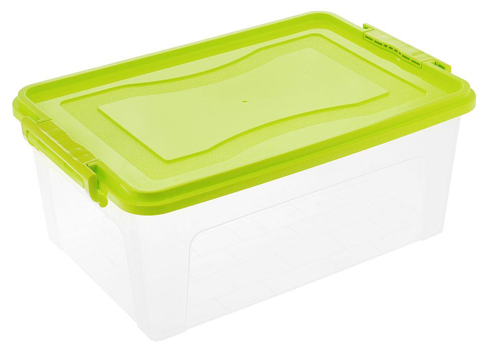 Контейнер для хранения Idea, прямоугольный, цвет: прозрачный, салатовый, 20 л