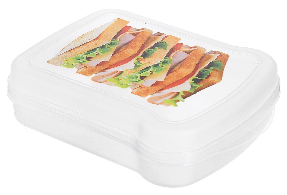 Контейнер для бутербродов Phibo Тост, 17 х 13 х 4,2 смС12854_тостКонтейнер для бутербродов Phibo Тост изготовлен из прозрачного пищевого пластика, устойчивого к высоким температурам. Контейнер выполнен в форме бутерброда, поэтому идеально подходит для его хранения. Крышка плотно закрывается, дольше сохраняя еду свежей и вкусной. Контейнер оформлен ярким изображением сэндвича. Такой контейнер удобно брать с собой на работу, учебу, пикник.Подходит для разогрева пищи в микроволновой печи и для хранения в холодильнике. Можно мыть в посудомоечной машине. Размер контейнера: 17 см х 13 см х 4,2 см.