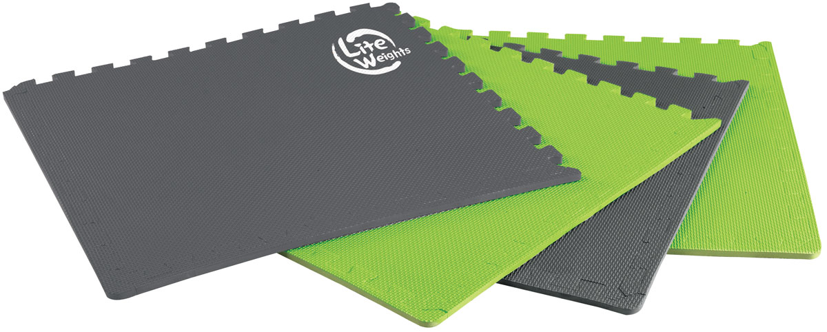 Покрытие защитное под тренажеры Lite Weights, цвет: серый, зеленый2400000005502_серо-зеленыйМягкая нескользящая поверхность покрытия Lite Weights надежно защищает напольное покрытие от потертостей и царапин. Собирается пазлом из четырех элементов. При использовании в качестве мата под тренажеры повышает устойчивость, устраняет возможный шум при тренировках. Возможно также применение в качестве мата для занятий фитнесом.Размер одного сегмента: 63 см х 63 см х 1,2 см.В комплект входят 4 сегмента.