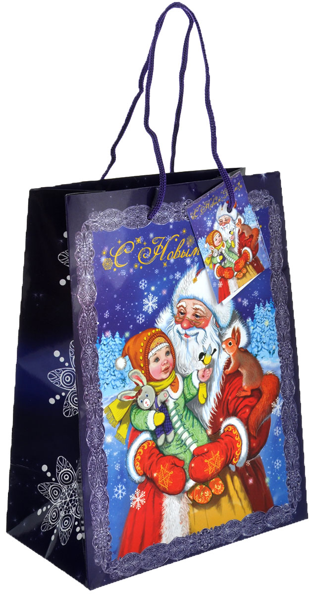 Пакет подарочный Феникс-Презент Дедушка Мороз с девочкой, 17,8 х 22,9 х 9,8 см38526Подарочный пакет Феникс-презент Дедушка Мороз с девочкой, изготовленный из плотной бумаги, станет незаменимым дополнением к выбранному подарку. Дно изделия укреплено картоном, который позволяет сохранить форму пакета и исключает возможность деформации дна под тяжестью подарка. Пакет выполнен с глянцевой ламинацией, что придает ему прочность, а изображению - яркость и насыщенность цветов. Для удобной переноски на пакете имеются две ручки из шнурков.Подарок, преподнесенный в оригинальной упаковке, всегда будет самым эффектным и запоминающимся. Окружите близких людей вниманием и заботой, вручив презент в нарядном, праздничном оформлении.Размер: 17,8 см х 22,9 см х 9,8 см.