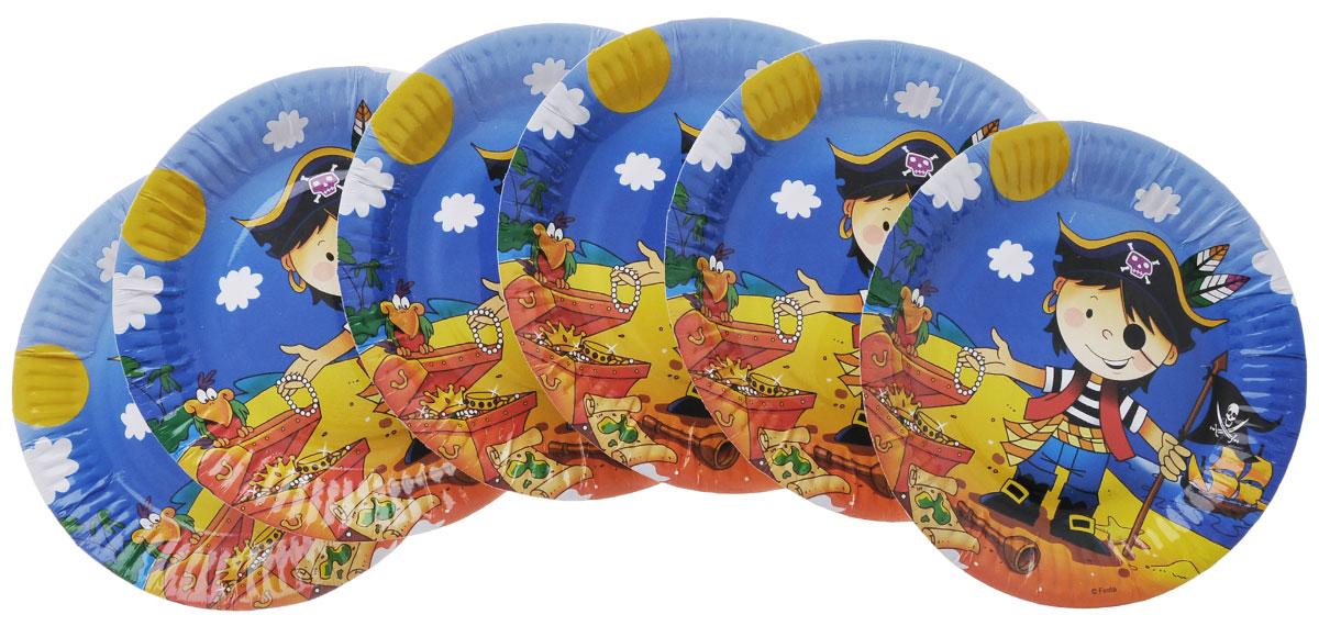 Веселая затея Тарелка бумажная Маленький пират, диаметр 17 см, 6 шт miland тарелка бумажная футбольный матч 17 см 6 шт