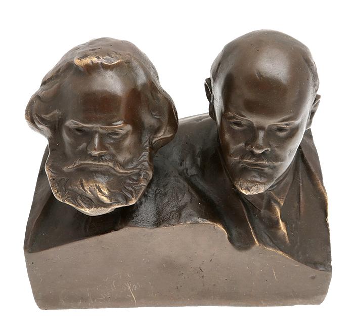 Бюст В. И. Ленин и К. Маркс. Бронза, прочеканка. Высота 13 см. Россия, 2000-е гг.