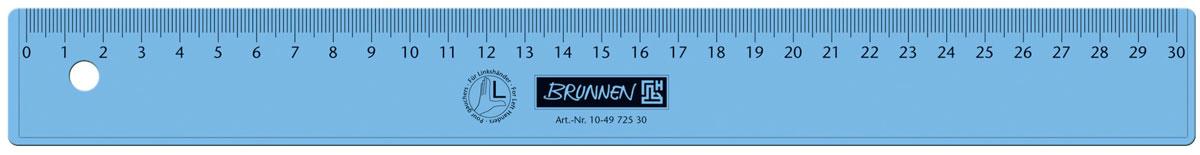 Brunnen Линейка для левши, цвет: синий, 30 см49725-30\BCD_синийЛинейка Brunnen, длиной 30 см, выполнена из прозрачного пластика синего цвета. Линейка предназначена специально для левшей. Шкала на линейке расположена справа налево. Линейка Brunnen - это незаменимый атрибут, необходимый школьнику или студенту, упрощающий измерение и обеспечивающий ровность проводимых линий.