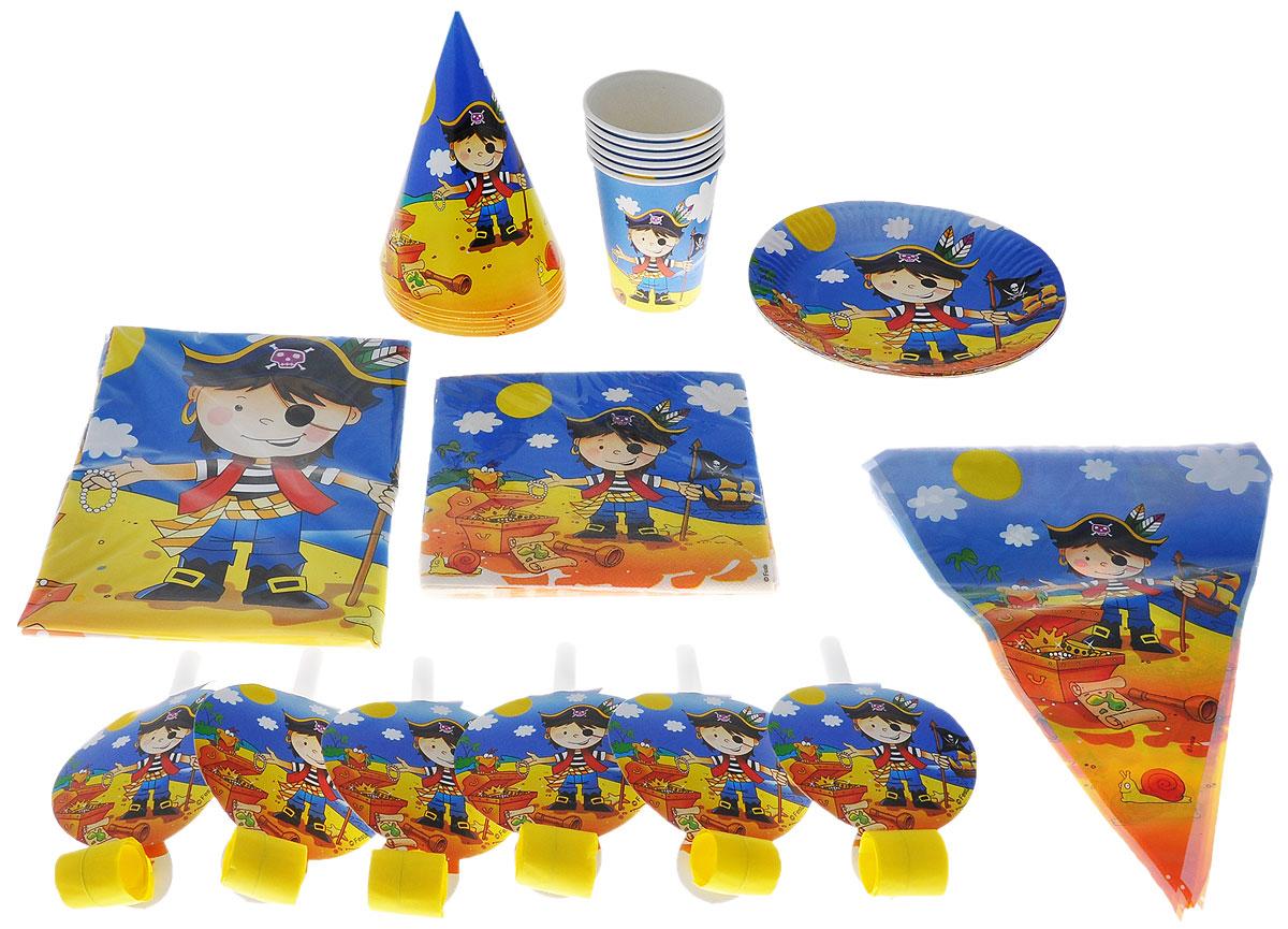 Веселая затея Набор карнавальных аксессуаров Маленький пират, 38 предметов веселая затея салфетки маленький пират трехслойные 12 шт