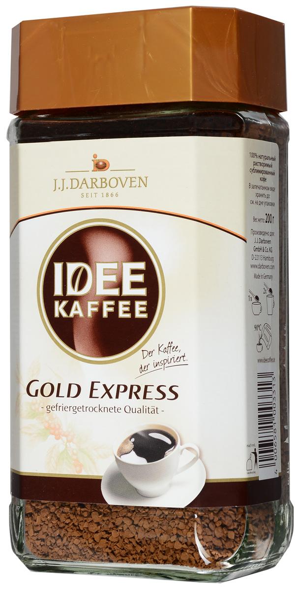 Idee Kaffee Gold Express растворимый, 200 г3313Кофе Idee Kaffee Gold Express обладает традиционно великолепным кофейным вкусом и ароматом. Он создан специально для любителей растворимого кофе. Это идеальная смесь самых лучших сортов высококачественных арабики и робусты. Напиток имеет устойчивую густую пенку и выразительный интенсивный вкус.Кофе: мифы и факты. Статья OZON Гид