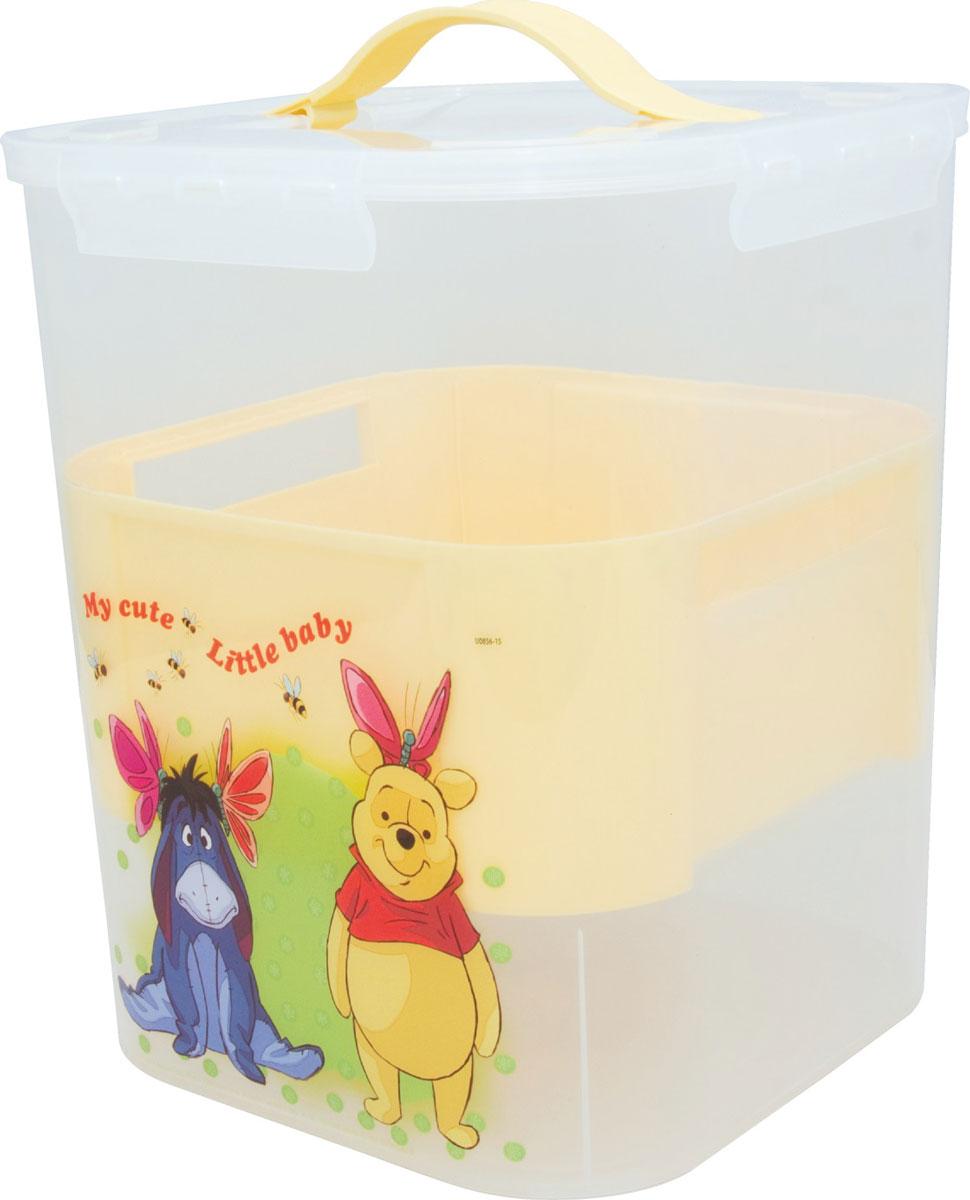 Disney Контейнер для детских принадлежностей цвет банановый 10 лМ 2830-ДКонтейнер порадует детей своим дизайном, а родителей вместительностью и удобством использования. Внутри имеется дополнительный цветной вкладыш, который облегчает процесс хранения, поиска необходимого в контейнере.Изготовлен из пищевой пластмассы поэтому абсолютно безопасен для хранения продуктов, детских игрушек, канцелярских принадлежностей и др. Прочные ручки из эластопласта легко выдвигаются и убираются, когда это необходимо. Защелки крышки открываются/закрываются легко и надежно.