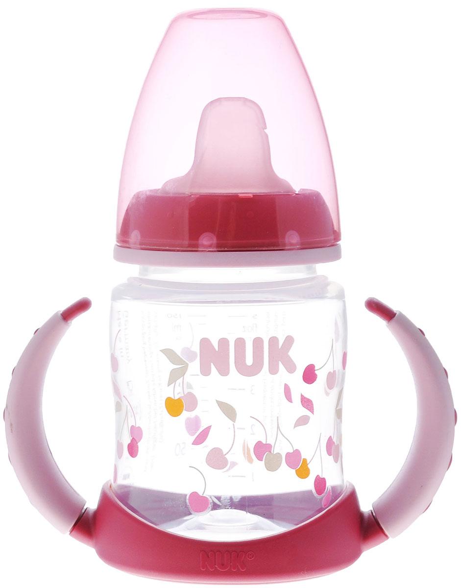 NUK Бутылочка-поильник First Choice, с латексной насадкой, от 6 месяцев, цвет: бордовый, 150 мл nuk first choice пластик 150 мл с силиконовой насадкой
