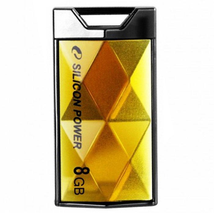 Silicon Power Touch 850 8GB, Amber USB-накопительSP008GBUF2850V1AНовая уникальная модель Silicon Power Touch 850 с корпусом, который напоминает по форме грани кристалла, сверкающие при падении солнечных лучей, что придает устройству поистине неповторимый вид. Накопитель имеет не только привлекательное внешнее содержание, но и внутреннюю начинку, которая делает устройство надежным и модным аксессуаром для деловых людей.Корпус Silicon Power Touch 850 изготовлен из сплава цинка, что гарантирует прочность корпуса. Крышка накопителя надежно защищает USB коннектор от возможного повреждения. Таким образом, пользователь может не беспокоиться о сохранности своих данных.Использование технологии COB (Chip On Board) делает Silicon Power Touch 850 водонепроницаемым. Кроме того, благодаря последней технологии устройство способно иметь максимальную емкость в 32 Гигабайта. В дополнение, технология Wear Leveling позволяет улучшить производительность и стабильность работы. Этот продукт соответствует стандарту RoHS и имеет пожизненную гарантию.