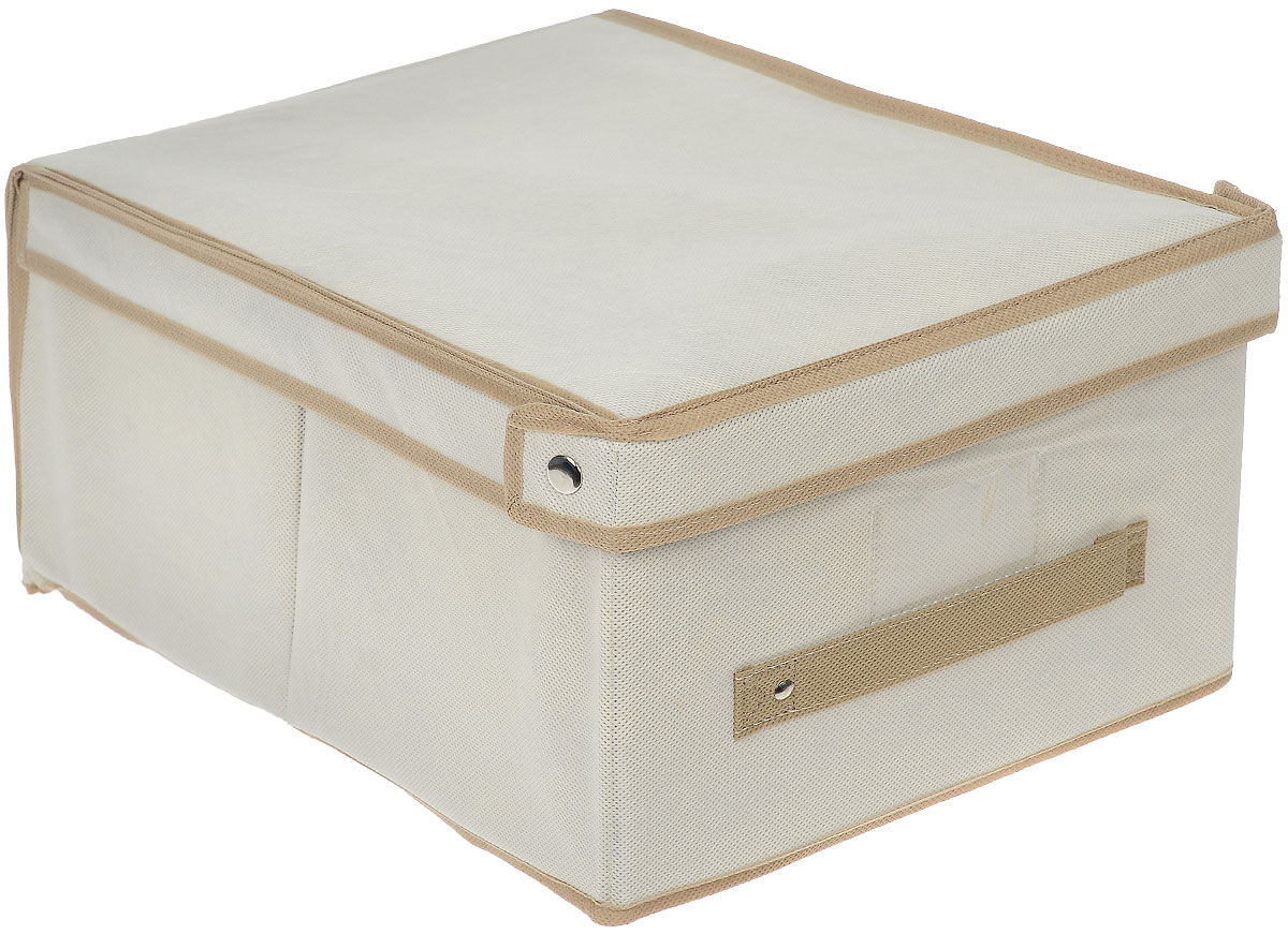Чехол-коробка для хранения вещей Voila, цвет: светло-бежевый, бежевый, 30 х 45 х 20 смCOVLSCT001_Чехол-коробка Voila выполнен из полипропилена и предназначен для хранения вещей. Он защитит вещи от повреждений, пыли, влаги и загрязнений во время хранения и транспортировки. Чехол-коробка идеально подходит для хранения детских вещей и игрушек. Жесткий каркас из плотного толстого картона обеспечивает устойчивость конструкции. В окне-кармашке на передней стенке чехла можно поместить бумажную этикетку с указанием содержимого.