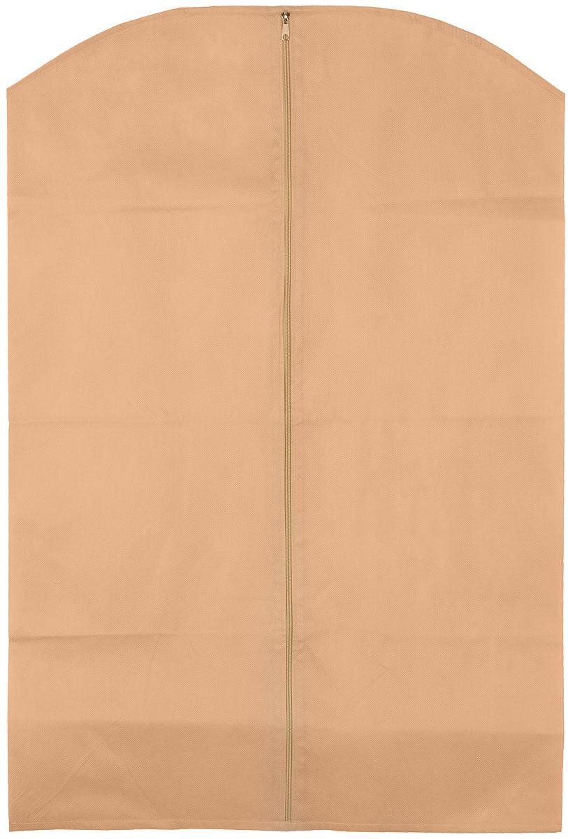 Чехол для одежды Eva, цвет: бежевый, 65 х 100 смЕ16_бежевыйЧехол для одежды Eva изготовлен из высококачественного нетканого материала. Особое строение полотна создает естественную вентиляцию: материал дышит и позволяет воздуху свободно проникать внутрь чехла, не пропуская пыль. Благодаря форме чехла, одежда не мнется даже при длительном хранении. Застегивается на молнию.Чехол для одежды будет очень полезен при транспортировке вещей на близкие и дальние расстояния, при длительном хранении сезонной одежды, а также при ежедневном хранении вещей из деликатных тканей. Чехол для одежды не только защитит ваши вещи от пыли и влаги, но и поможет доставить одежду на любое мероприятие в идеальном состоянии.