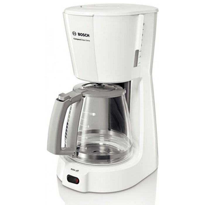 Bosch TKA 3A031, White кофеваркаTKA3A031Кофеварка Bosch TKA 3A031 подойдет практически к любой кухне, а большая колба для кофе обеспечит вас ароматным напитком на целый день. Данная модель сочетает в себе профессиональное качество и современный дизайн, удобна и практична в использовании. Есть возможность приготовления до десяти чашечек кофе за одно заваривание. Кофеварка снабжена резервуаром для воды объемом 1,25 литра. Удобство в использовании также обеспечивается наличием противокапельной системы и индикацией включения/выключения прибора.Материал корпуса : пластикОтсек для хранения шнура