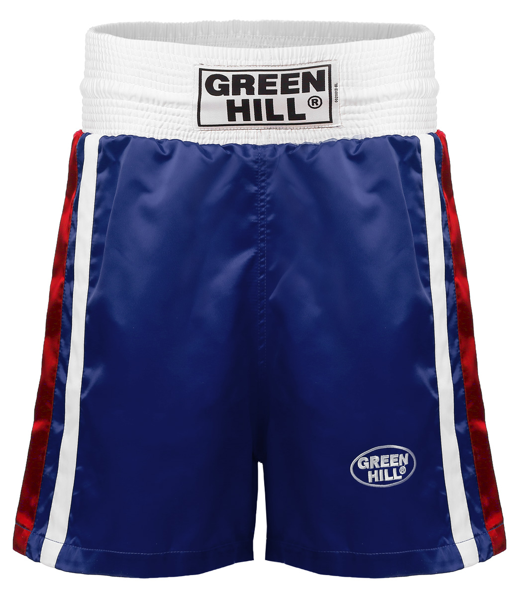 Трусы боксерские GREEN HILL OLIMPIC, цвет: синий. BSO-6320. Размер XS (44)BSO-6320Трусы боксерские Green Hill Olimpic отлично подойдут для тренировок и соревнований. Широкий крой не стесняющий движений. Трусы выполнены из полиэстера и искусственного шелка. Трусы отлично держатся и не спадают благодаря широкому поясу со шнурком.