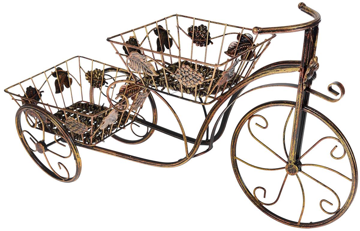 Цветочница Sima-land Велосипед, 2 яруса588897Оригинальная цветочница Sima-land Велосипед, изготовленная в винтажном стиле, придаст интерьеру тепло и уют, а также создаст атмосферу гармонии и комфорта. Двухъярусная цветочница имеет металлический каркас и две емкости-кашпо для расположения как искусственных, так и живых растений. Необычный дизайн цветочницы позволит использовать ее в качестве как настольного, так инапольного декора интерьера, оживляющего обстановку и придающего ей элемент изысканности и роскоши.Общий размер цветочницы: 64 см x 35 см x 20 см.Размер емкости для горшка: 20 см x 20 см x 8 см.