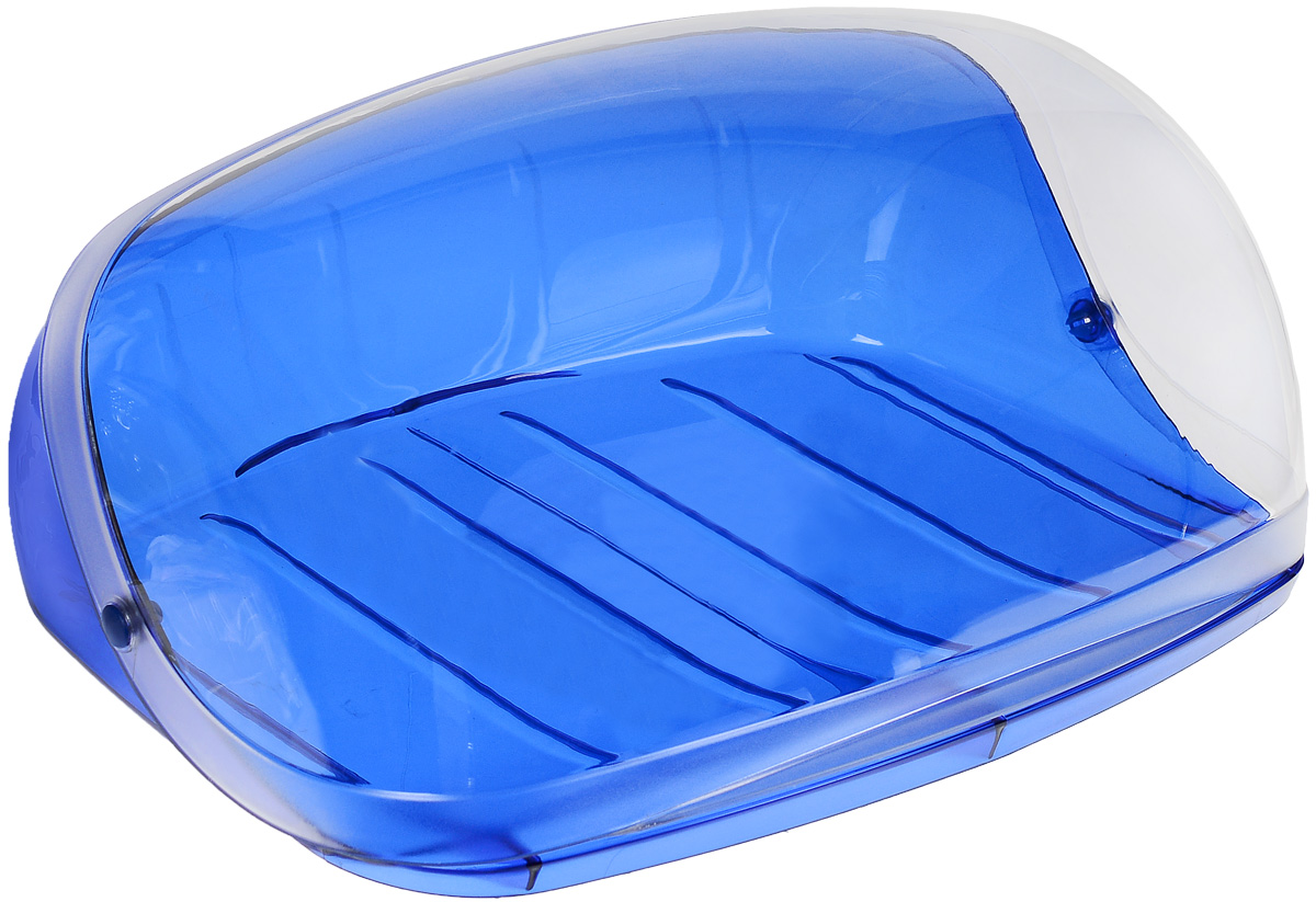 Хлебница Idea Кристалл, цвет: синий, прозрачный, 40 х 29 х 16 смМ 1186Хлебница Idea Кристалл, изготовленная из пищевого пластика, обеспечивает идеальные условия хранения для различных видов хлебобулочных изделий, надолго сохраняя их свежесть. Изделие оснащено плотно закрывающейся крышкой, защищающей продукты от воздействия внешних факторов (запахов и влаги).Вместительность, функциональность и стильный дизайн позволят хлебнице стать не только незаменимым аксессуаром на кухне, но и предметом украшения интерьера. В ней хлеб всегда останется свежим и вкусным.