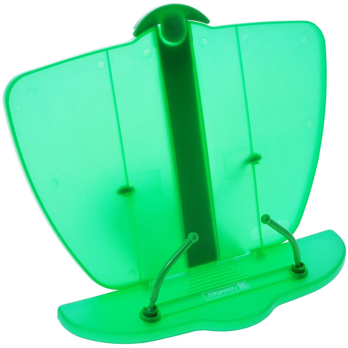 Brunnen Подставка для учебников, цвет: зеленый40402\BCD_зеленыйПодставка для учебников Brunnen, выполненная из полупрозрачного прочного пластика синего цвета. Удобная и устойчивая подставка специально предназначена в помощь в обучении, а несколько ступенейкреплений сделает удобным наклон в соответствии со всеми индивидуальными предпочтениями и привычкамишкольника. Она обязательно понравится первоклашке и станет отличным помощником в обучающем процессе, атакже простимулирует его интерес к учебе.