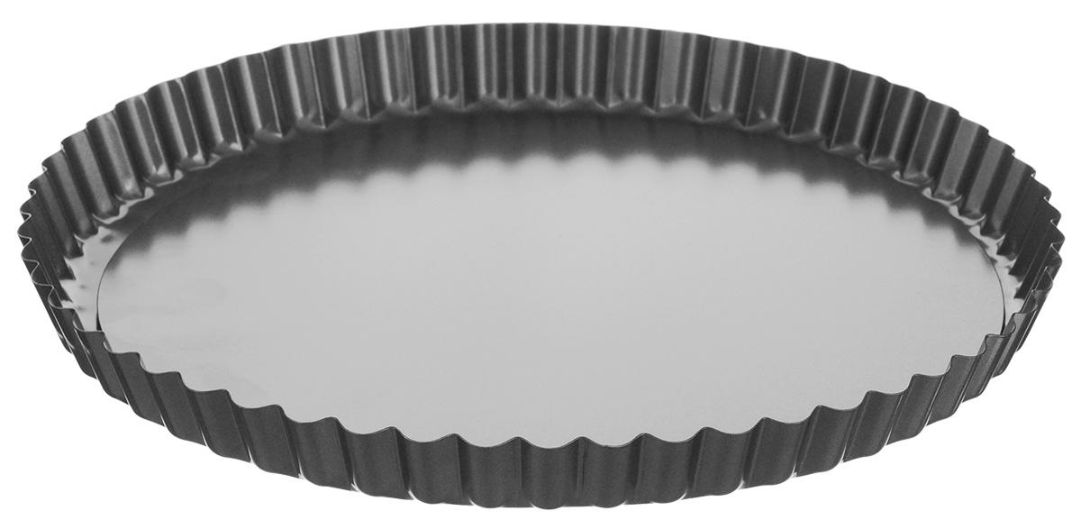 Форма для выпечки Tescoma Delicia, со съемным дном, с антипригарным покрытием, диаметр 28 см623115Форма для выпечки Tescoma Delicia изготовлена из металла с антипригарным покрытием, благодаря чему пища не пригорает и не прилипает к стенкам посуды. Кроме того, готовить можно с добавлением минимального количества масла и жиров. Антипригарное покрытие также обеспечивает легкость мытья. Стенки формы рифленые, что придает выпечке особую аппетитную форму. Изделие имеет съемное дно, благодаря чему готовое блюдо очень легко вынимать. Подходит для использования в духовом шкафу. Не подходит для СВЧ-печей. Можно мыть в посудомоечной машине.Диаметр формы: 28 см.Высота стенки: 2,5 см.Толщина стенки: 0,5 мм.