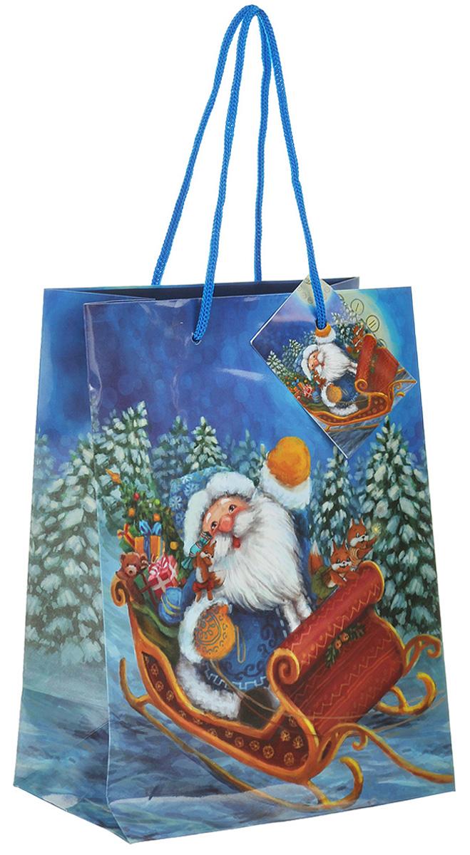 Пакет подарочный Феникс-презент Дед Мороз в санях, 17,8 х 22,9 х 9,8 см пакет подарочный феникс презент чашки 18 х 10 х 23 см