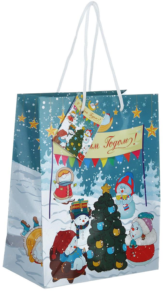 Пакет подарочный Феникс-презент Снеговики с елочкой, 17,8 х 22,9 х 9,8 см пакет подарочный феникс презент чашки 18 х 10 х 23 см