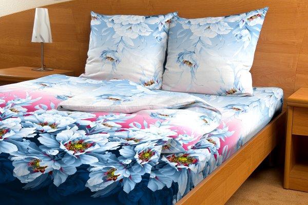 Комплект белья Letto Утро в саду, 2-спальный, наволочки 70х70, цвет: синий, бордовый, голубой. B70-4 комплект белья letto народные узоры 1 5 спальный наволочки 70х70 цвет красный белый бордовый
