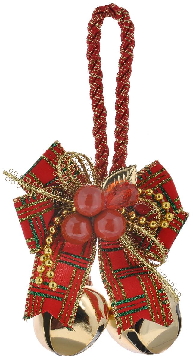 Новогоднее подвесное украшение Феникс-презент Бубенцы с бантиком, цвет: золотой, красный, 8,5 см х 10,5 см х 3,5 см38602Оригинальное новогоднее украшение Феникс-презент Бубенцы с бантиком, изготовленное из металла и полиэстера, прекрасно подойдет для праздничного декора дома и новогодней ели. Изделие представляет собой композицию из двух бубенцов и красивого банта, украшенного крупными бусинами в виде ягод. Украшение крепится на елку с помощью петельки.Создайте в своем доме атмосферу веселья и радости, украшая новогоднюю елку нарядными игрушками, которые будут из года в год накапливать теплоту воспоминаний.